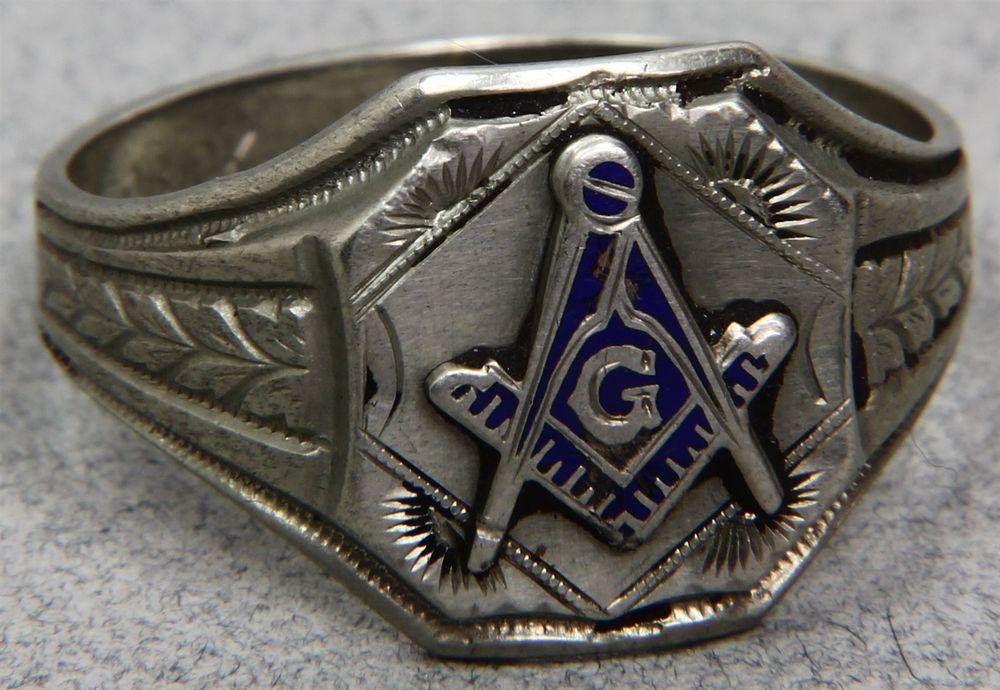 Vintage Ostby Barton OB 10K White Gold Masonic Ring Blue