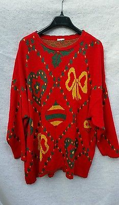 6198f7db3b5fb Ugly Christmas sweater Red festive holiday parties plus size 4x ...