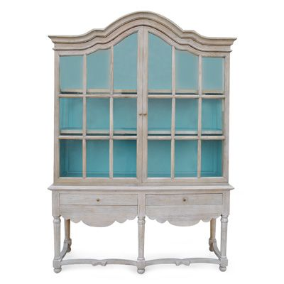 Display Product | Urban Home -  Robins egg blue interior = absolutely perfect for milk glass displays!!!!!