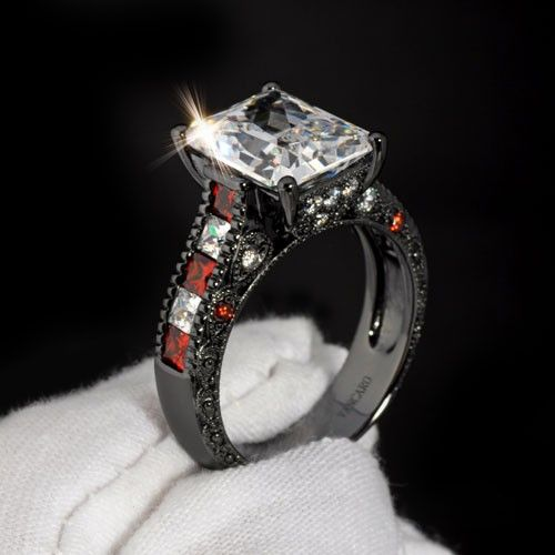 White and Red Cubic Zirconia Emerald Cut Womens Black Engagement