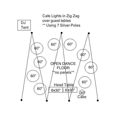 Tent Less Event With A Zig Zag Of Cafe Lights Over Guest