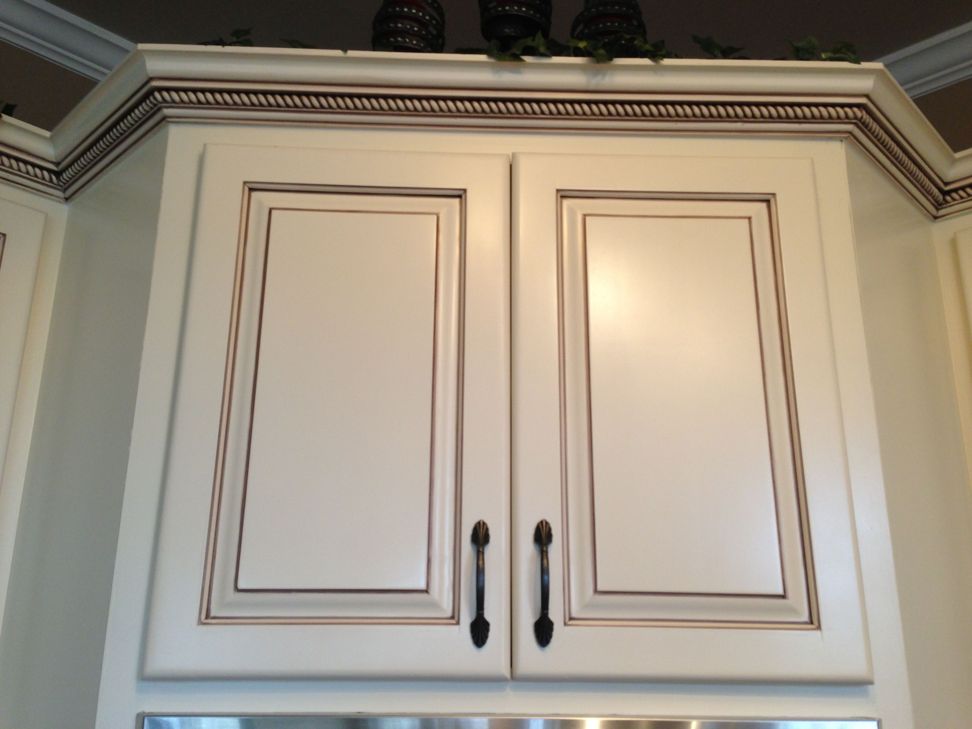 My Dream Kitchen Cabinets At Last Painted Maple Cabinets Antique White Almond Added Light Rai Dream Kitchen Cabinets Glazed Kitchen Cabinets Maple Cabinets