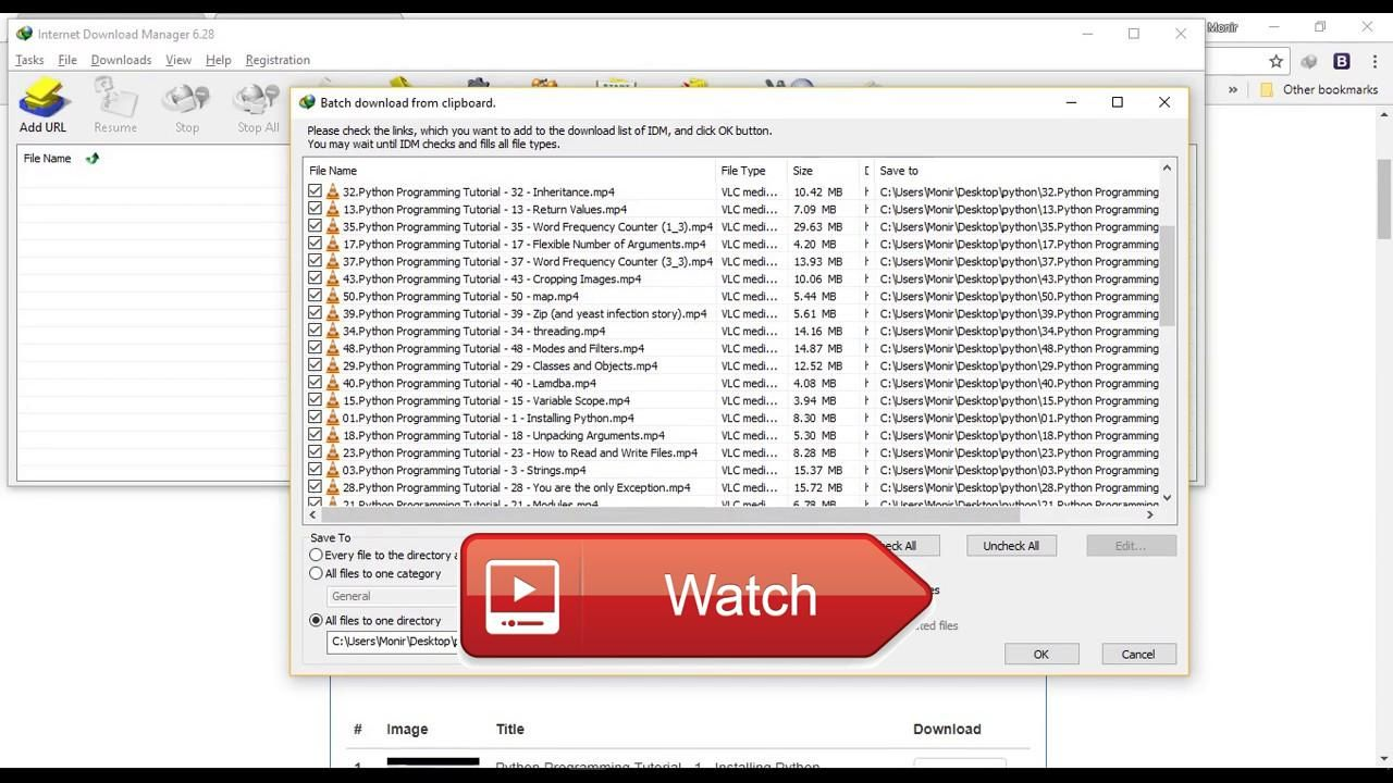 How to download all the videos of a playlist using IDM
