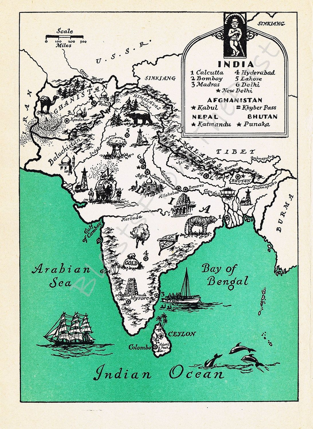 Vintage map of india beautifully illustrated perfect for framing vintage map of india beautifully illustrated perfect for framing altered arts world gumiabroncs Gallery