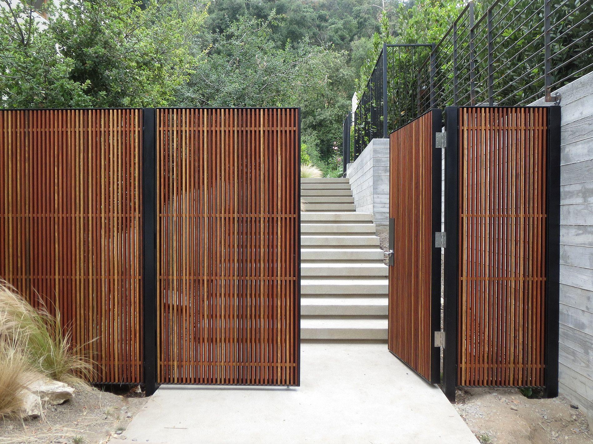 Mid Century Modern Wood Entry Gate Gartengestaltung Gartenturen