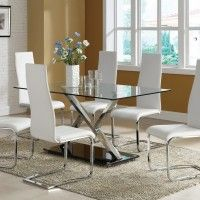 Chrome White Leather Dining Room Chairs Google Search Dining Room Table Set Small Dining Room Set Glass Dining Table