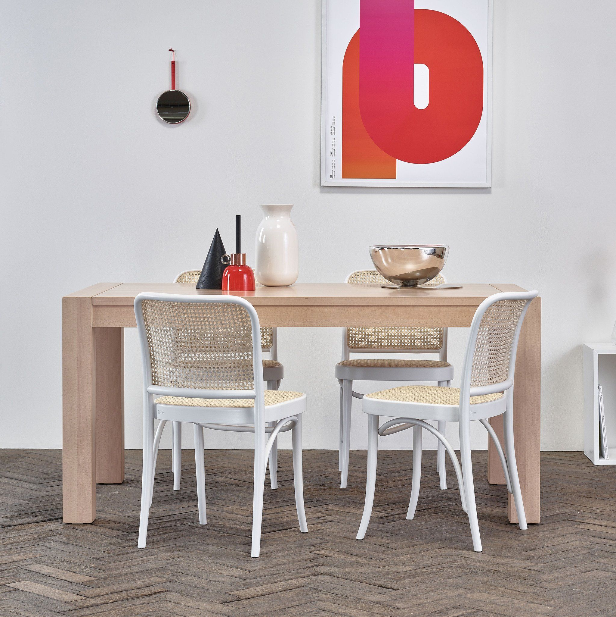 M   TON This solid table combines solid oak or beech wood top with bulky legs. Its moderate appearance can appropriately complement a large number of in...