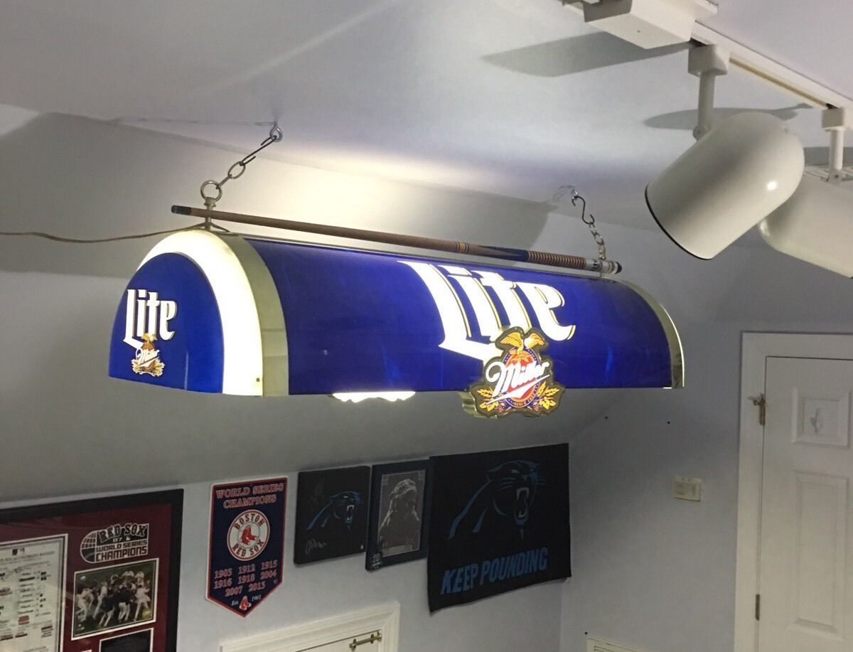 Miller Lite Beer Pool Table Light Cue Man Cave Bar Vintage