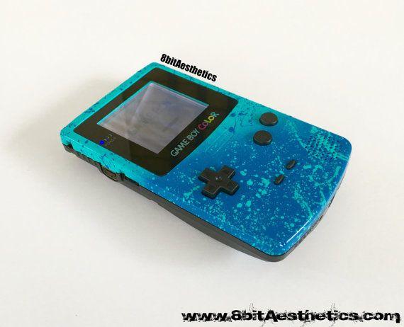 Custom Backlit Nintendo Gameboy Color Splatter Series Blue By Etsy In 2020 Gameboy Nintendo Custom Consoles