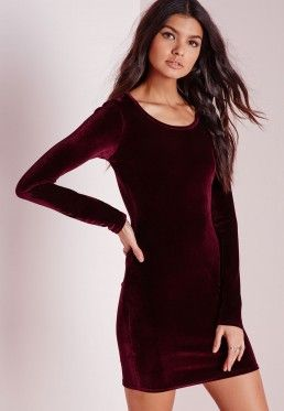 Long Sleeve Velvet Bodycon Dress Oxblood  25e34ec68