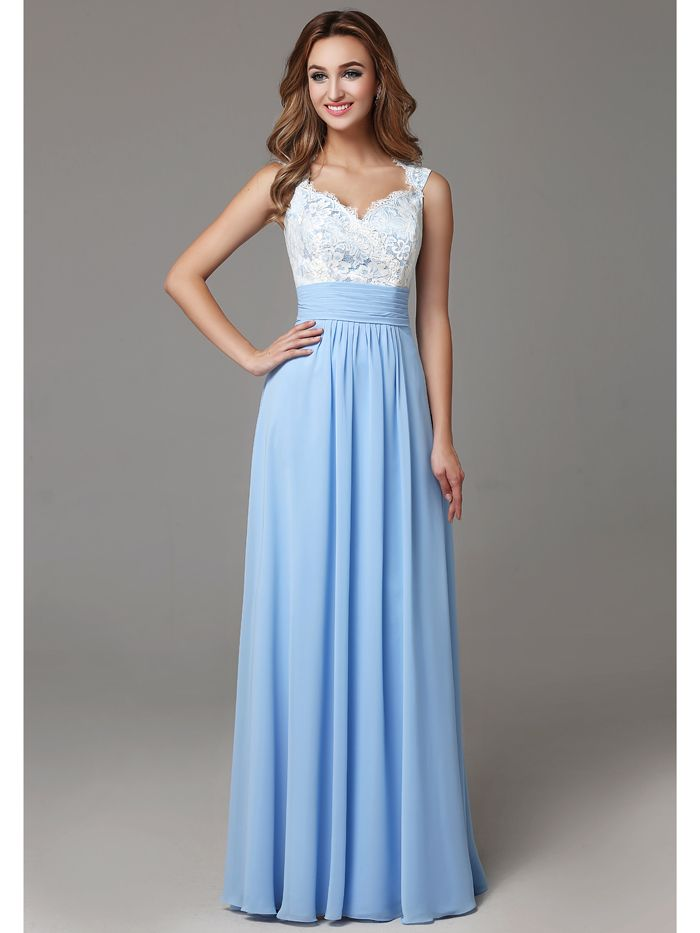 Click to Buy << Sexy Open Back White Lace Blue Chiffon Two Toned ...