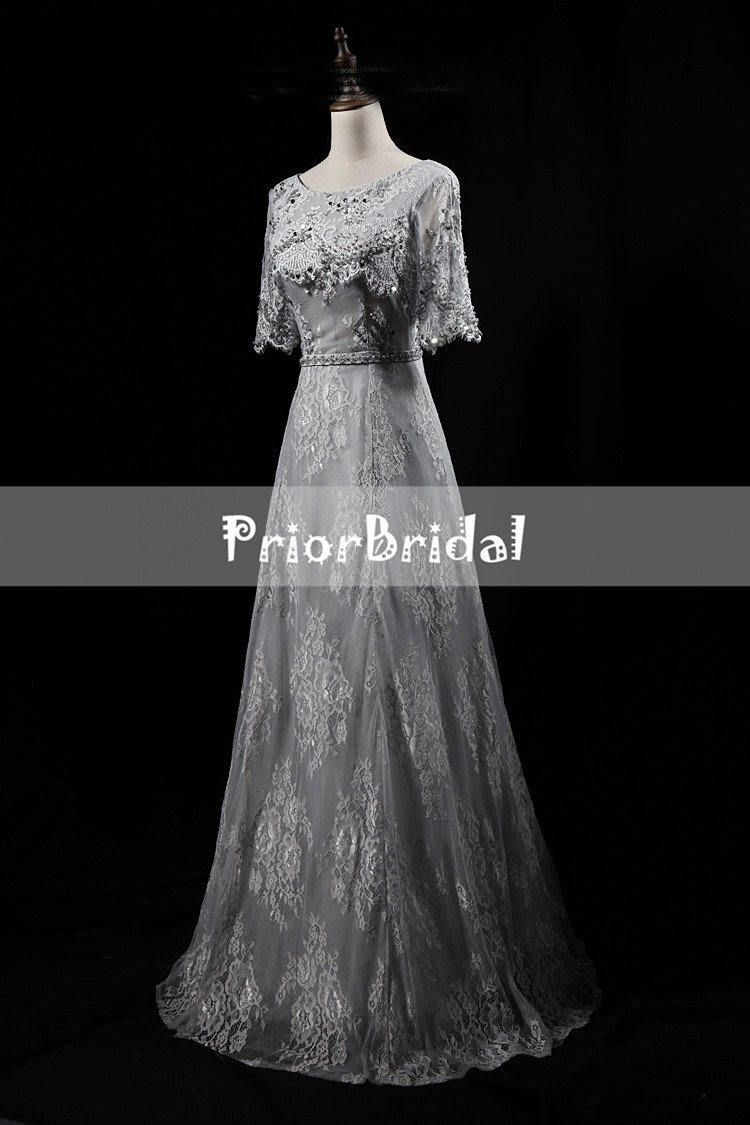5a4255f8370 Light Grey Lace With Beads Sequins Half Sleeve keyhole Back Lace Up Ba –  PriorBridal