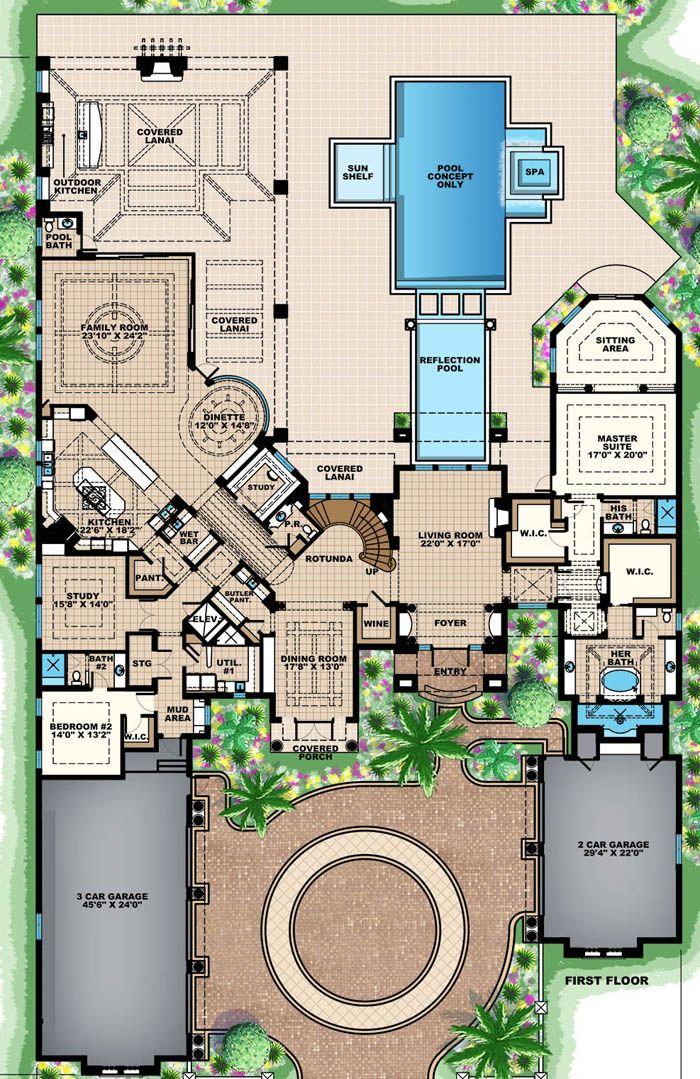 House Plan 1018 00223 Mediterranean Plan 8 359 Square Feet 5 Bedrooms 6 5 Bathrooms Luxury House Plans Mansion Floor Plan Mediterranean House Plan