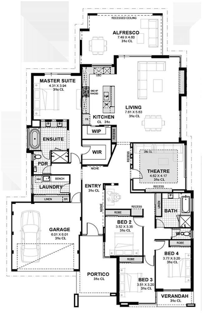 Floreat Stunning 4 Bedroom Single Storey Home Novus Homes House Floor Plans 4 Bedroom House Designs Storey Homes