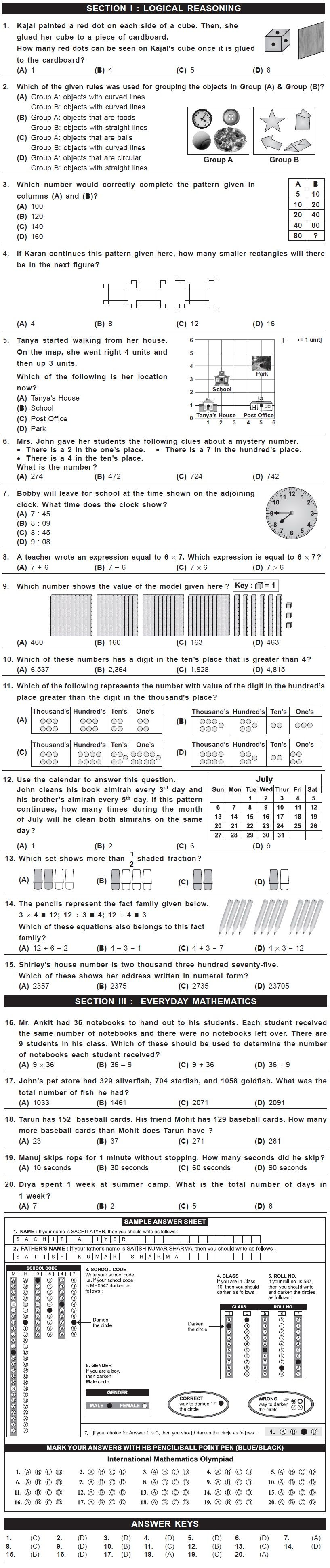 IMO 2nd Level Sample Papers - Class 3 | MATH | Pinterest | Sample ...