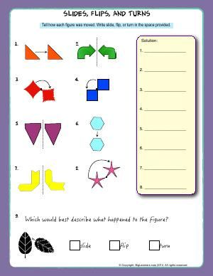 Worksheet Slides Flips And Turns Identify The Position Of A Shape Figure A Transformations Math Third Grade Math Worksheets Middle School Math Worksheets
