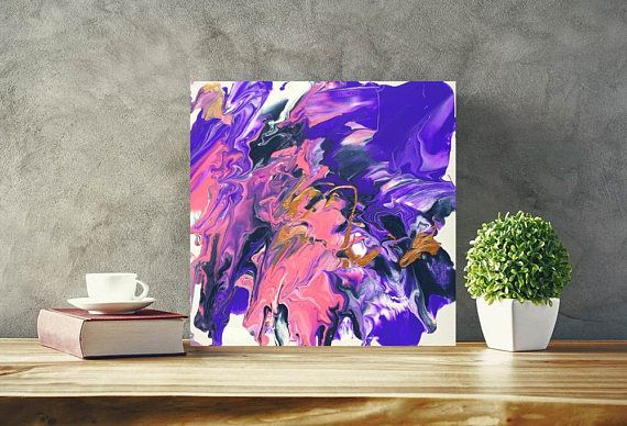 10 x 10 Inspired by the beauty & chaos of the world. Shades of rose gold, pink, purple, dark blue Colours on the monitor may differ to real life. Made in Canada :) Shipped securely and safely so it arrives in perfect condition.