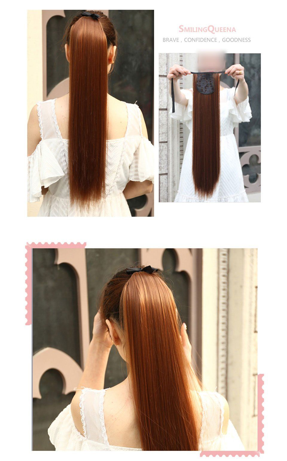Long Straight Ponytails Clip Resistant Fake Hair Extensions