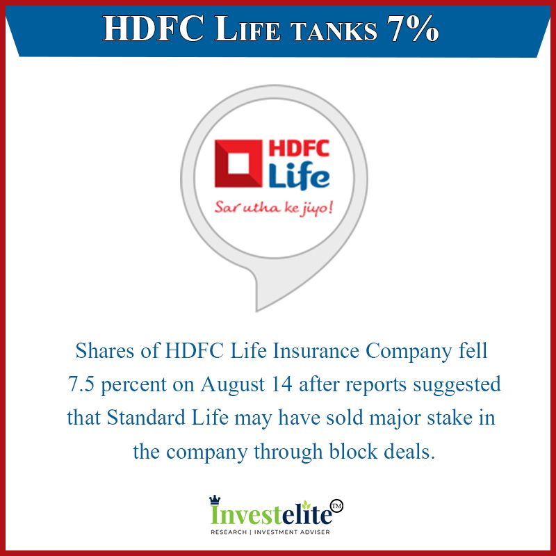 Hdfc Life Tanks 7 Shares Of Hdfc Life Insurance Company Fell 7 5