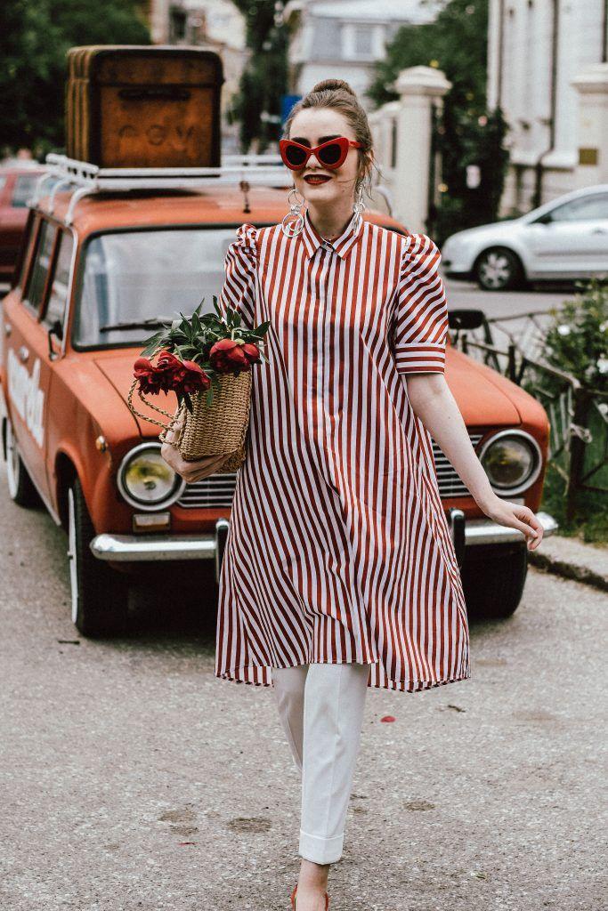 Red white striped dress shirts