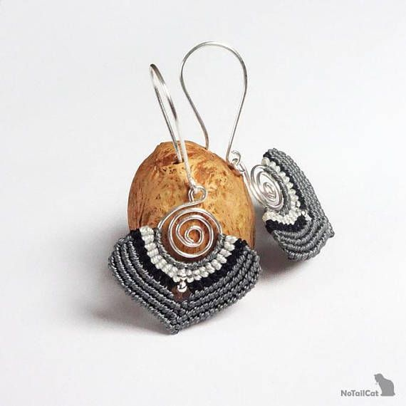 Handwoven macrame earrings. 925 sterling silver beads and silver ...
