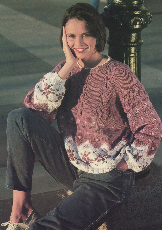 03b6e28356a2 Womens Aran Fair Isle Sweater Knitting Pattern PDF Ladies 30 - 32 ...