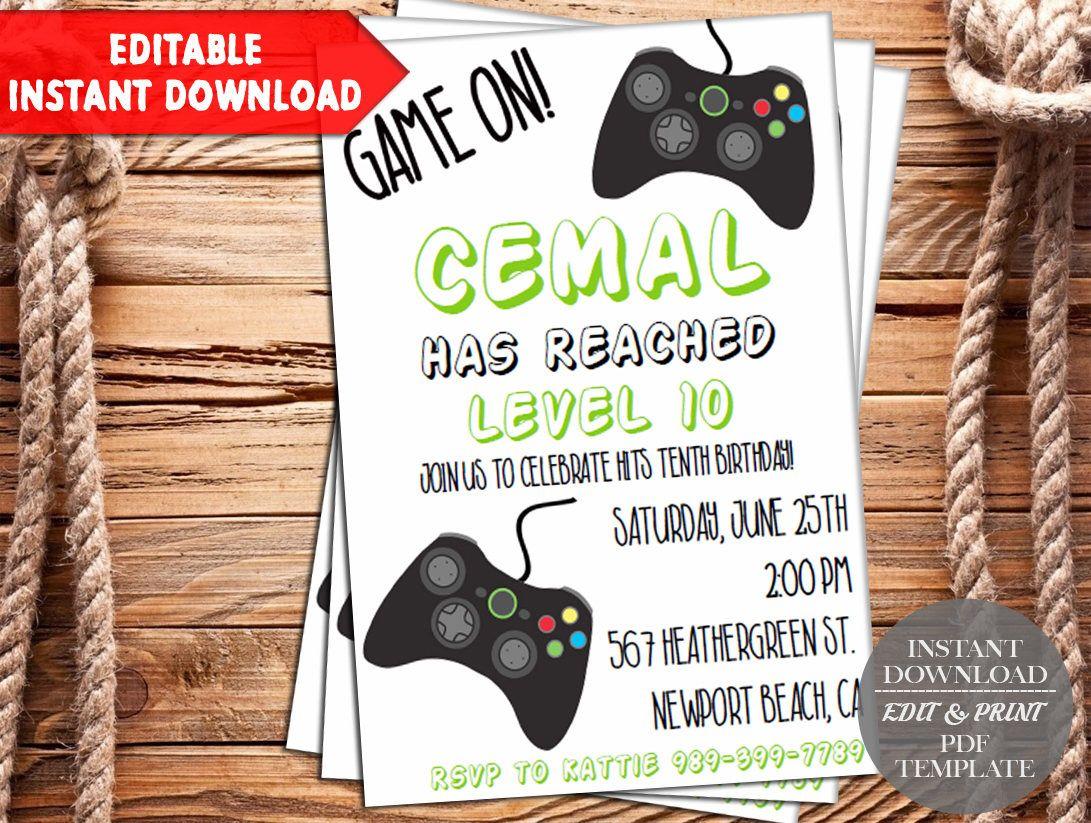 INSTANT DOWNLOADVideo Game Invitation, Gaming Invitation