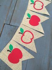 Apfelgarten Herbst erster Schultag Foto Prop Sackleinen Banner für Back to School Lehrer Ges Apfelgarten Herbst erster Schultag Foto Prop Sackleinen Banner für...