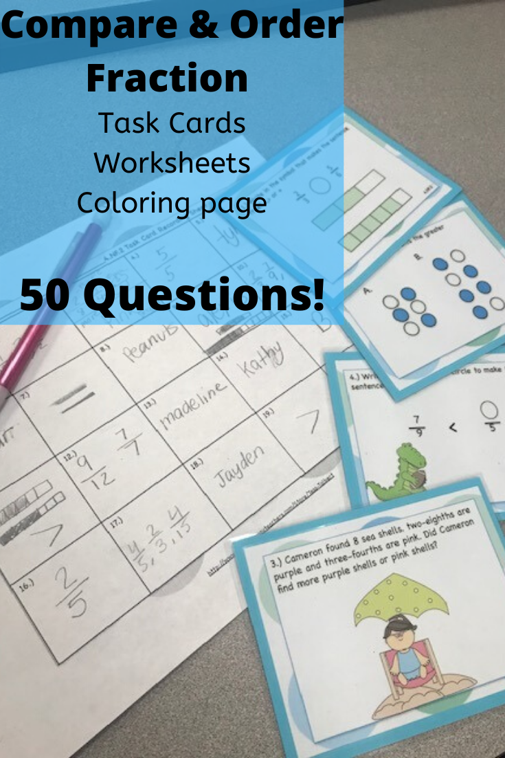 medium resolution of Compare and Order Fraction Task Cards   Fractions task cards