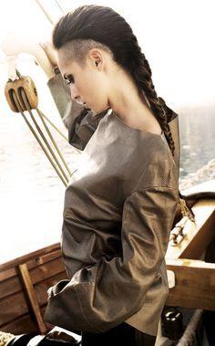 undercut long hair woman braid