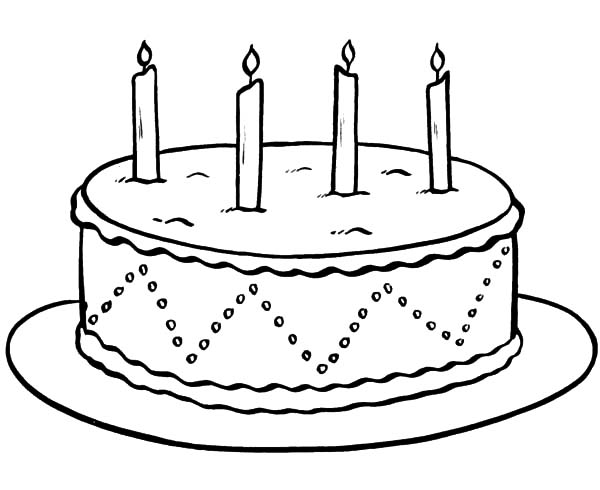 Chocolate Cake With Four Lighted Candles Coloring Pages Netart Coloring Pages Colorful Candles Candle Printable