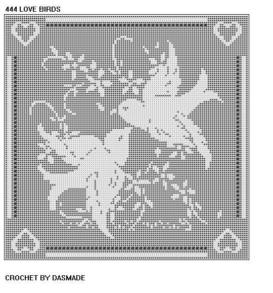 Love Birds Filet Crochet doily mat afghan pattern ITEM 444 digital download #afghanpatterns