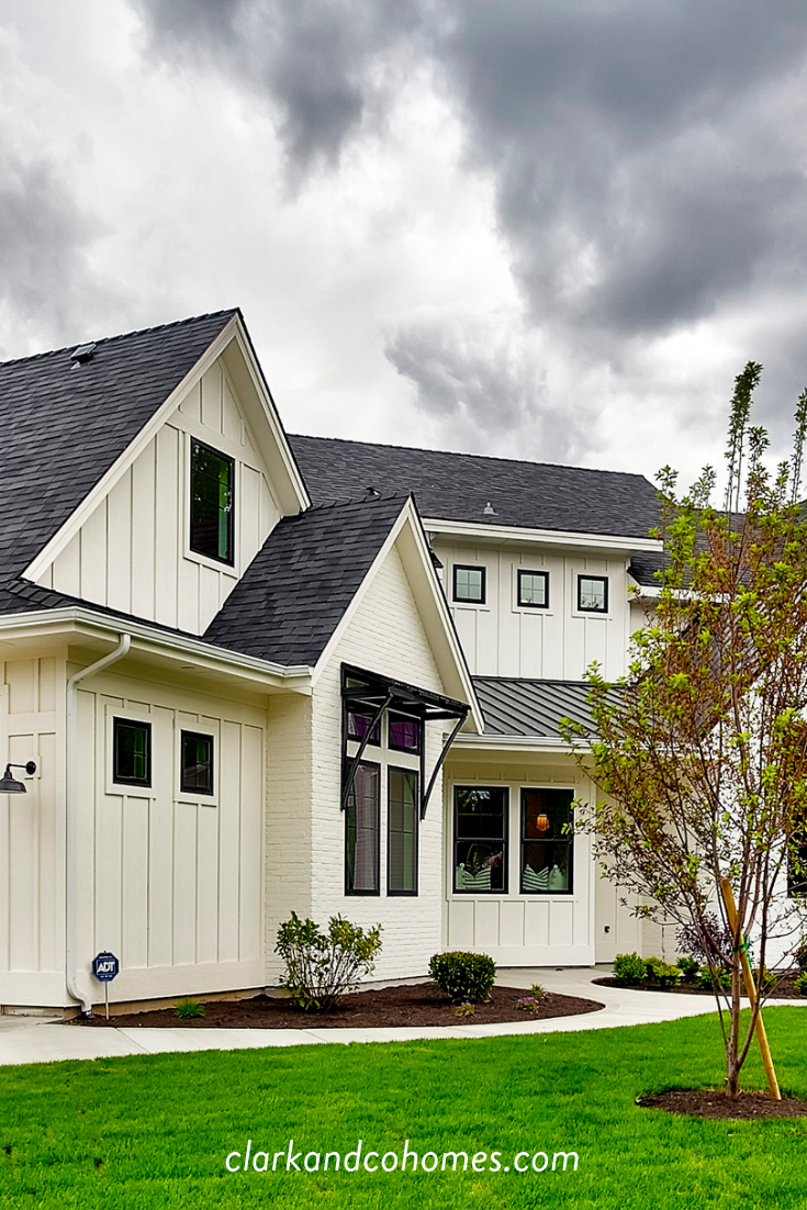 The Heartland Board And Batten Siding Is Painted A Creamy White That Contrasts With Modern Farmhouse Exterior Farmhouse Style Exterior Board And Batten Siding