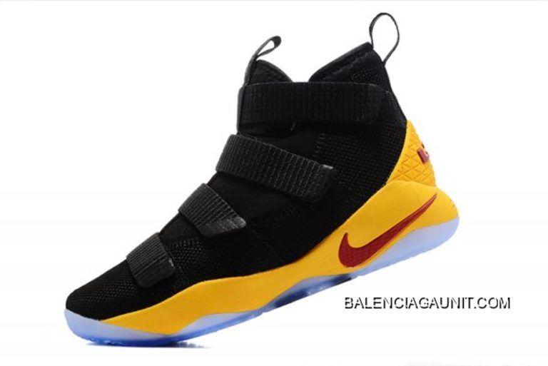 nike lebron soldato undici nero giallo cavs pe scarpe da basket nuova