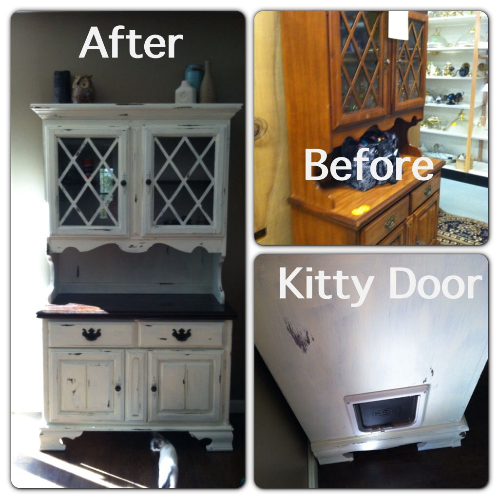 Bought this china cabinet for $62 refinished it and added a kitty ...
