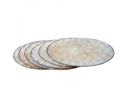 Set Of 6 Shell Place Mats Capiz Shell Home Decor Rug Decor