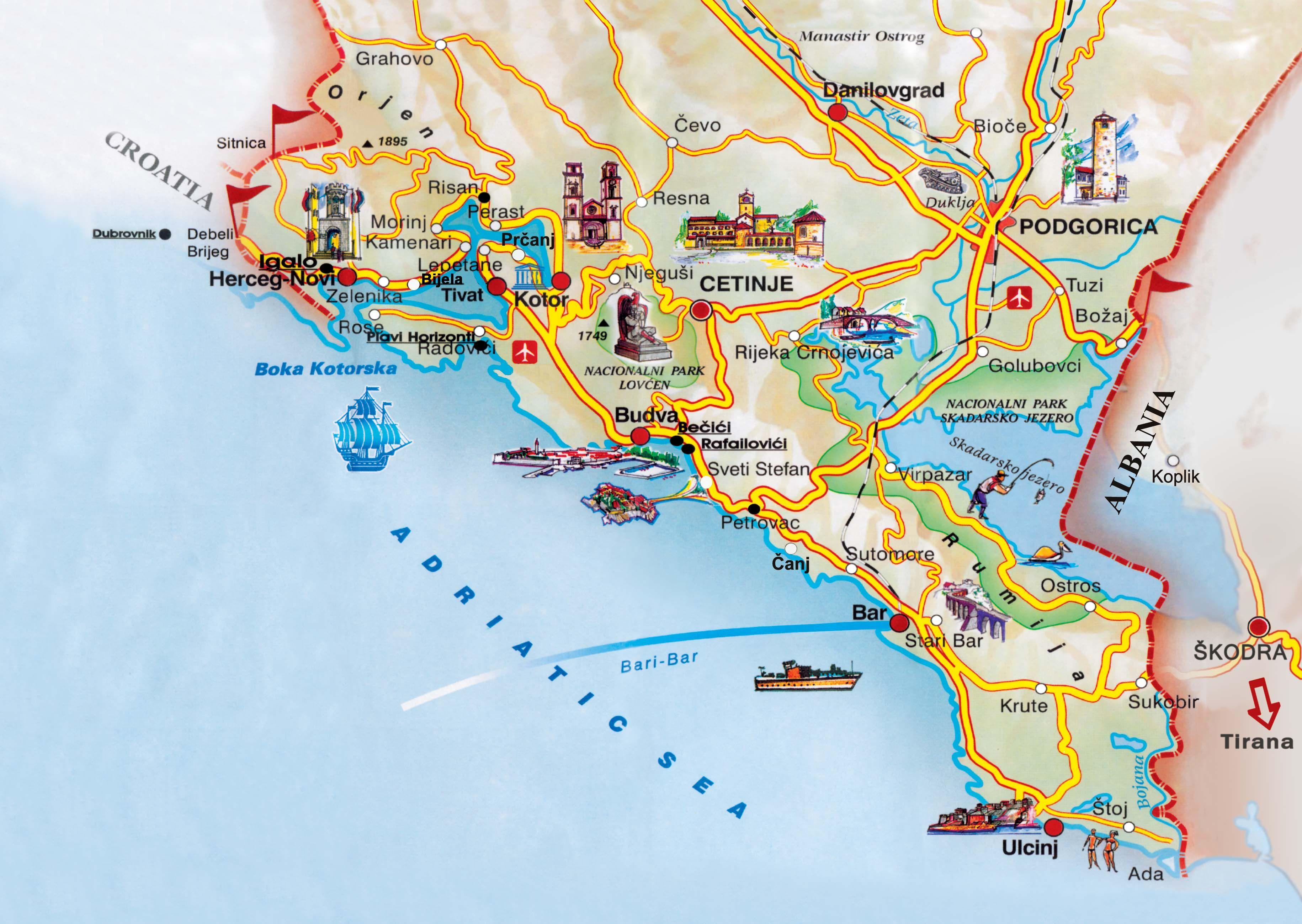 La Costa De Montenegro Herceg Novi Budva Bar Mapa De