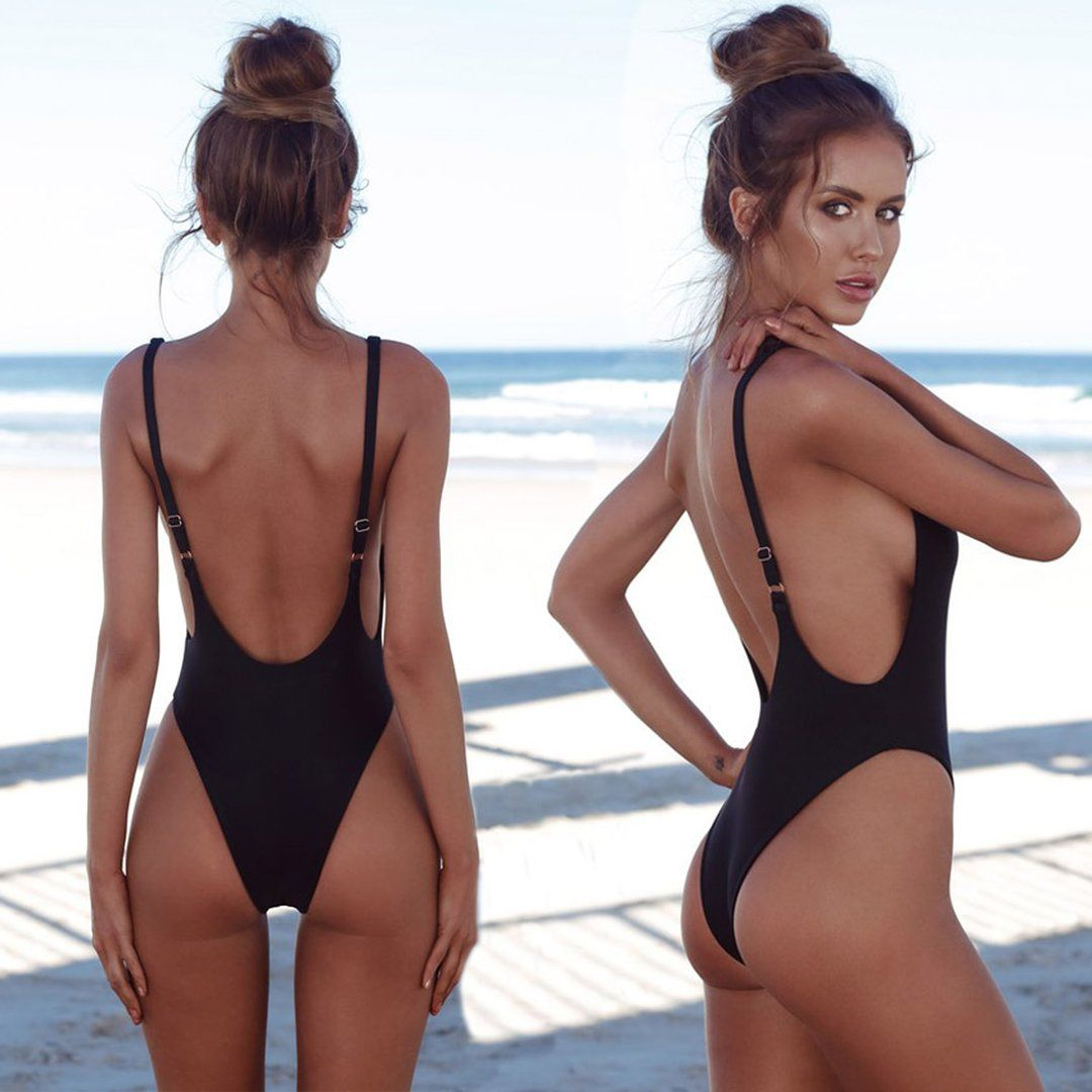 ac62307031 Slimming Sporty One Piece Cheeky Monokini for Teens - Hot Beach 2018 High  Cut Scoop Backless Swimsuit for Women - traje de baño deportivo de una  pieza para ...