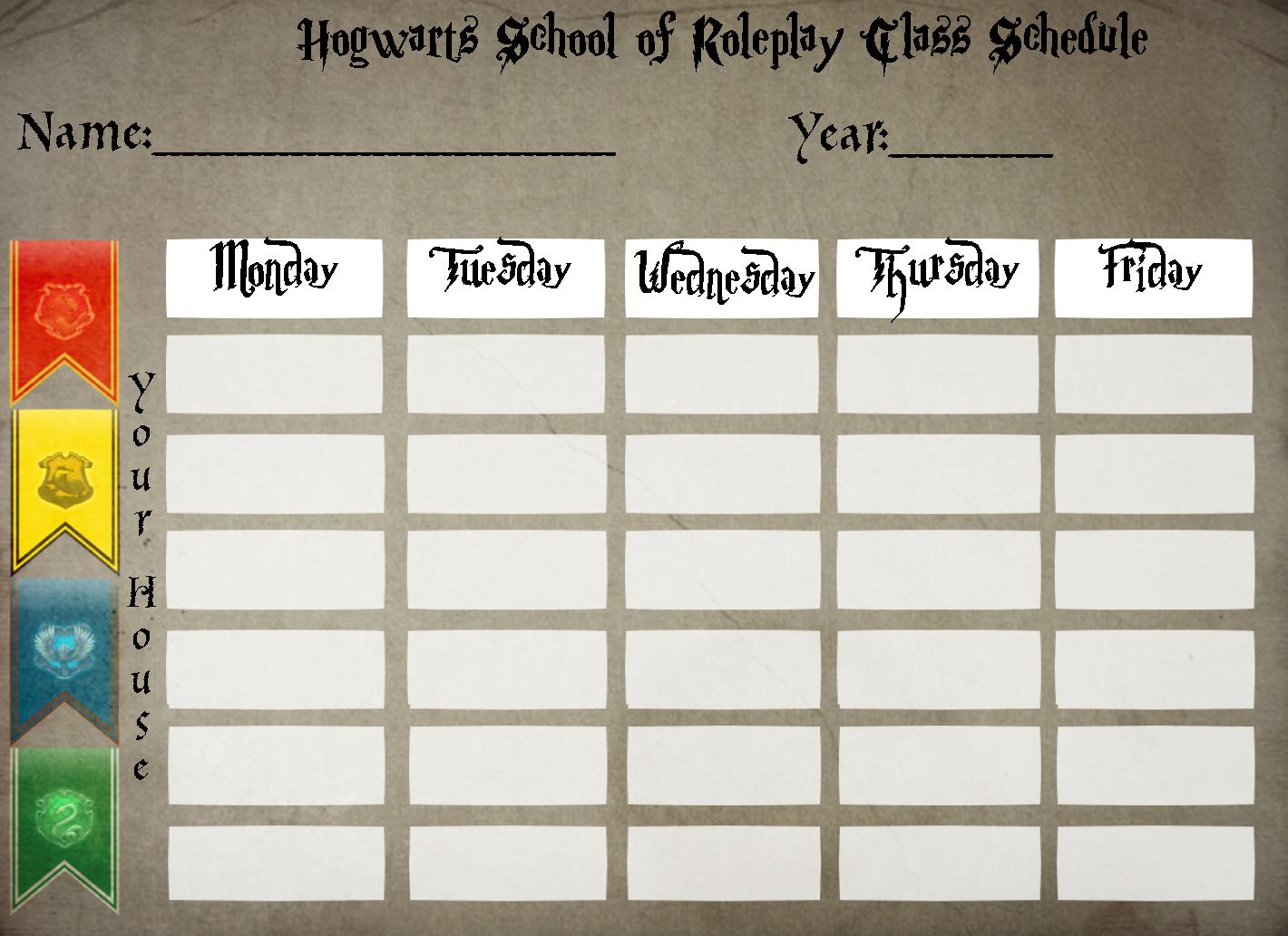 Hogwarts Class Schedule By Steampunkedinkling D7wtcbg