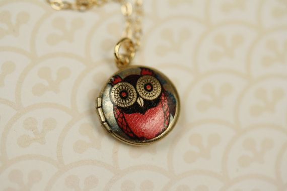 Small Pink Owl Locket Necklace Miniature Red by FreshyFig on Etsy