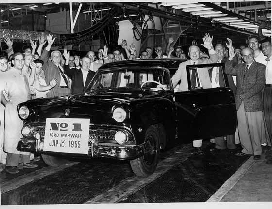 First Car Off The Line Ford Mahwah Assembly Plant July 15 1955