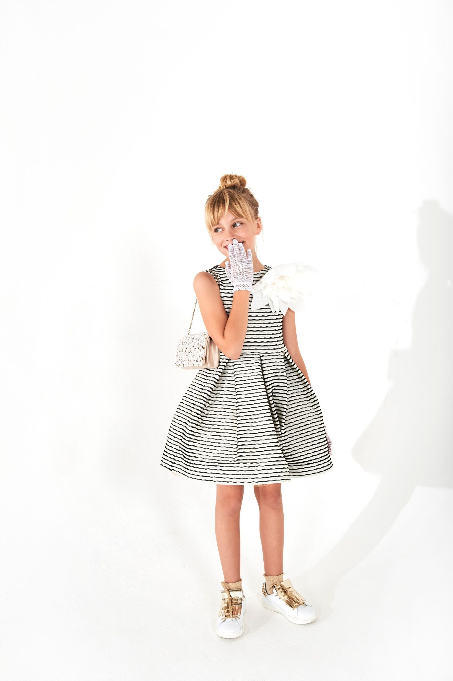 Black&White stiped dress for girl for a very special occasion