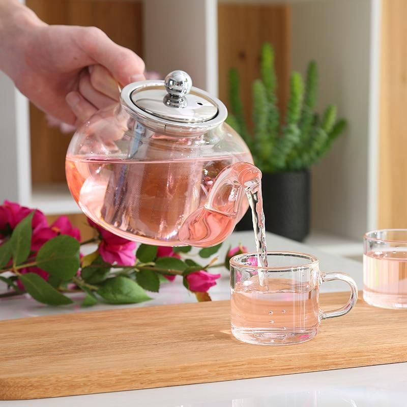 Photo of Clear Glass Teapot With Stainless Steel Infuser – 6pcs double 80ml cup