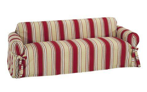 Classic Slipcovers Printed Classic Stripe Canvas Sofa Slipcover, Red  Classic Slipcovers Http://