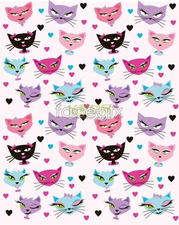 Cute cartoon cat background vector cartoon cats and cat art cute cartoon cat background vector voltagebd Choice Image