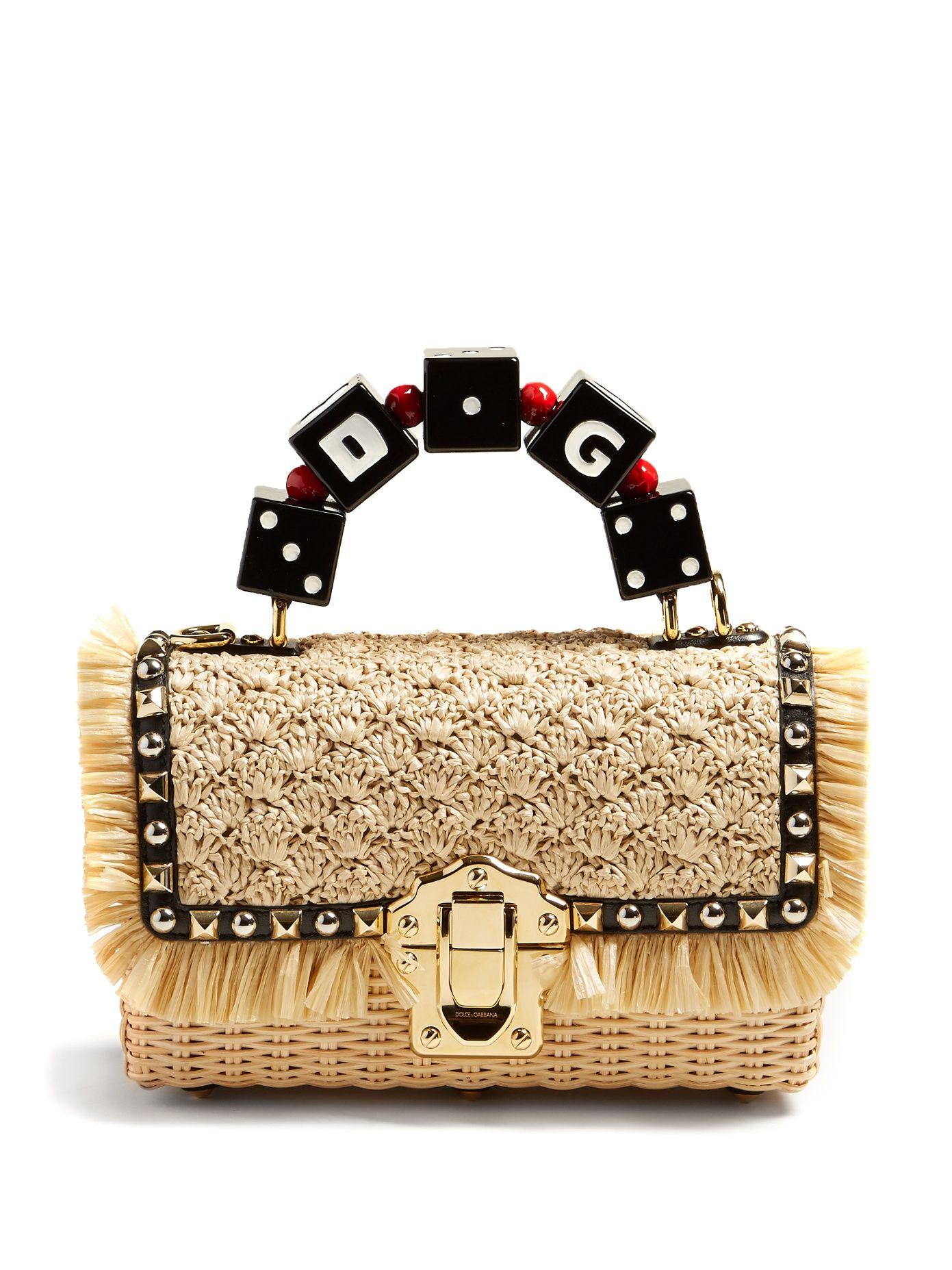 Dolce Gabbana Lucia Braided Raffia Wicker Basket Bag Designer Bags Luxury