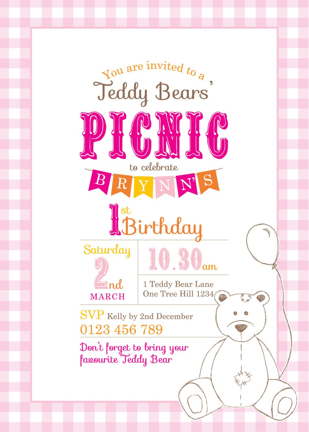 Printable Custom Birthday Party Invitation Template   Teddy Bears Picnic  Invites Template