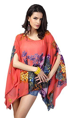 Honeystore Womens Beach Cover Up Chiffon Bikini Boho Tanks Cloak with Sleeve Watermelon >>> Find out more about the great product at the image link.