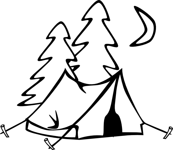 Black And White Camping Clipart Clipart Kid Camping