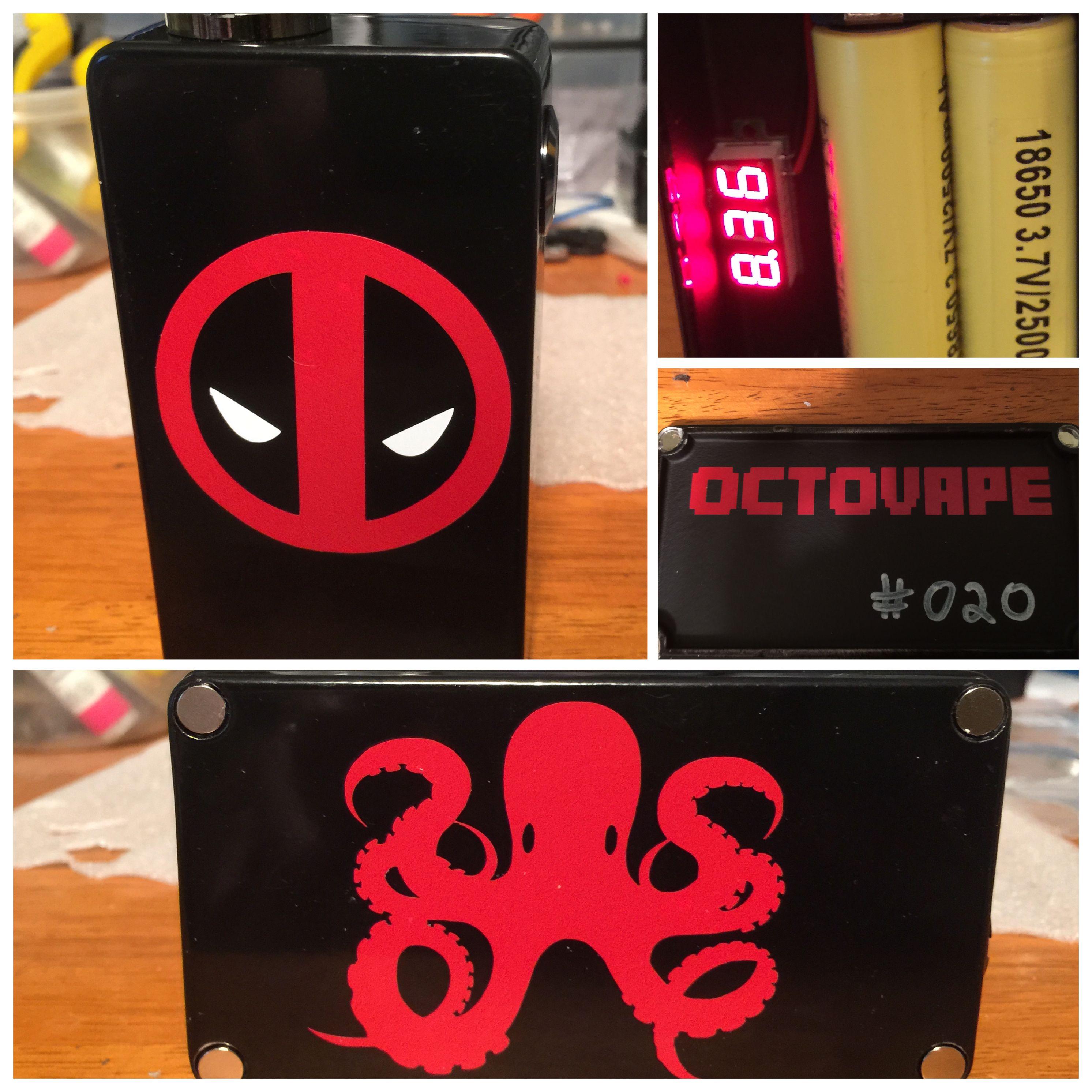 Custom Deadpool themed dual 18650 series box mod by Octovape